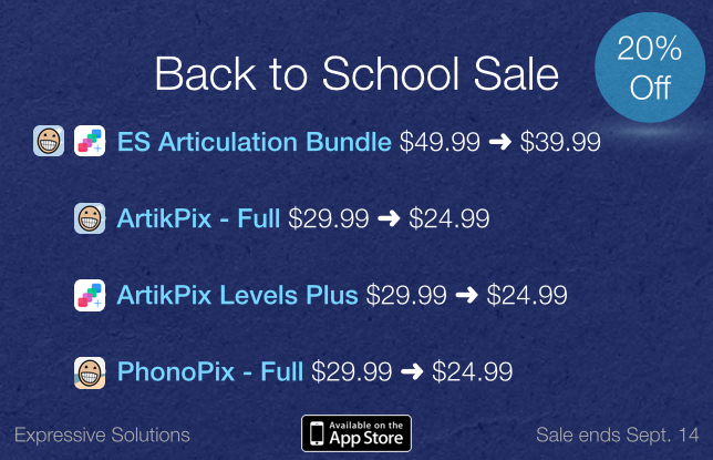 Back to School Sale on our Apps