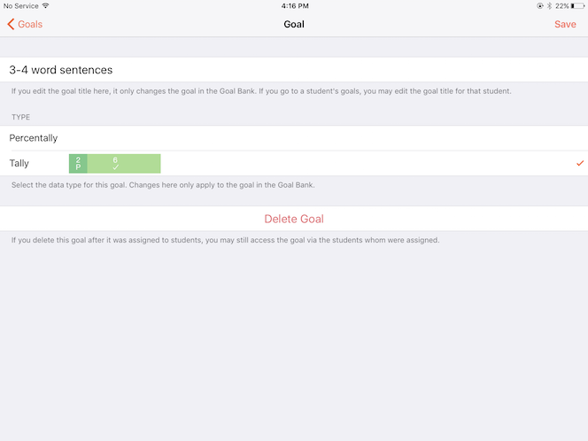 Percentally Pro 2: Edit a goal in the Goal Bank